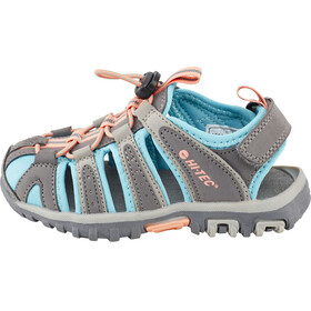 Hi-Tec Cove Sandals Kids Cool Grey/Curacao Blue/Papaya Punch
